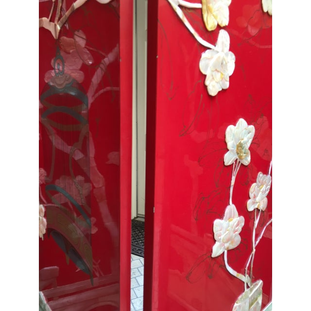 Vintage Red Lacquered Chinese Screen - Image 4 of 11
