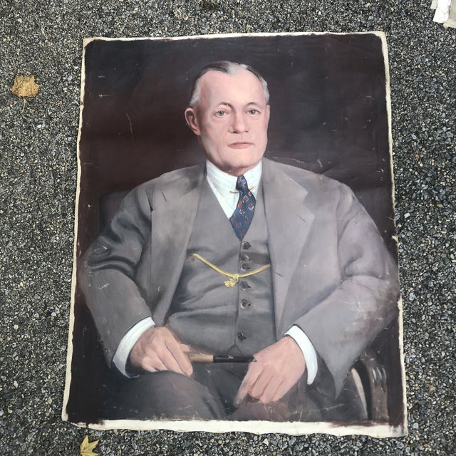 Blue 1950s Vintage Regal Business Man With Pipe Portrait Oil on Canvas Painting For Sale - Image 8 of 8