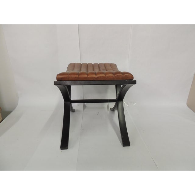 Brown Modern Polished Leather Footstool For Sale In Phoenix - Image 6 of 7