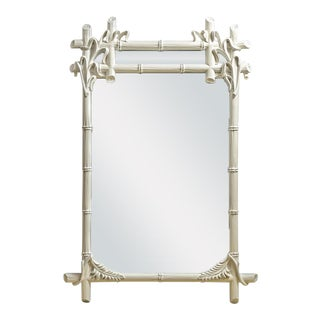 Vintage Wood Faux Bamboo Mirror For Sale