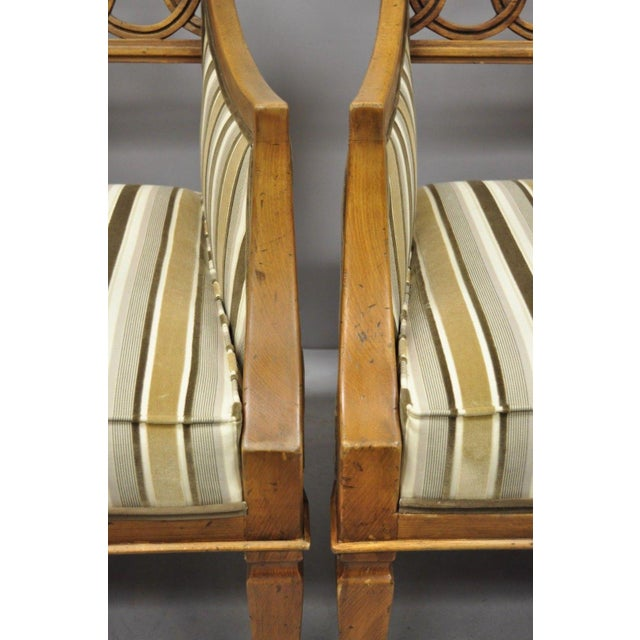Late 20th Century Vintage Hollywood Regency French Style Carved Spiral Back Arm Chairs- A Pair For Sale - Image 4 of 10