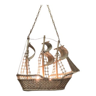 Meticulously Detailed Wicker Ship Chandelier For Sale