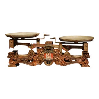 19th Century French Hand-Painted and Gilt Iron Scale With Paris Coat of Arms For Sale
