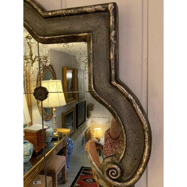 Gray Black and Silvered Ghosted Aged Mirrors -A Pair For Sale - Image 8 of 10