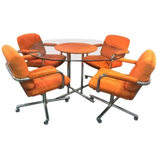 Fantastic Chrome X- Base Modernist Dining Set by Milo Baughman For Sale