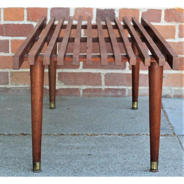 Mid-Century Modern Walnut Slat Bench/Coffee Table For Sale In Sacramento - Image 6 of 11