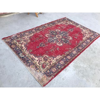 1960s Tribal Oushak Distressed Floor Rug Preview