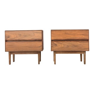 Walnut and Rosewood Nightstands by H. Paul Browning for Stanley Furniture Co. For Sale