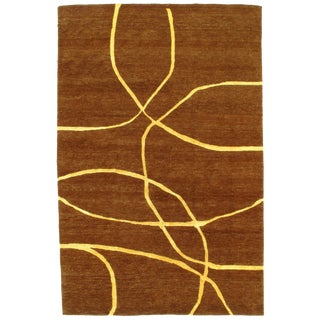 "Pasargad N Y Modern Hand-Knotted Wool Rug - 6' X 9'1"" For Sale"