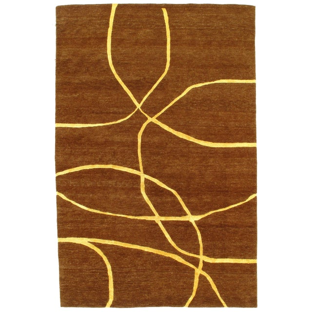 """Pasargad N Y Modern Hand-Knotted Wool Rug - 6' X 9'1"""" For Sale"""