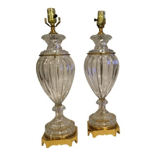 Vintage Paul Hanson Glass and French Brass Urn Lamps - a Pair For Sale