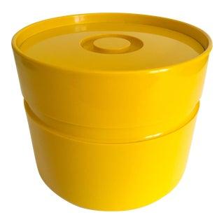 Vintage 1972 Mid Century Modern Heller Sergio Asti Yellow Melamine Ice Bucket For Sale