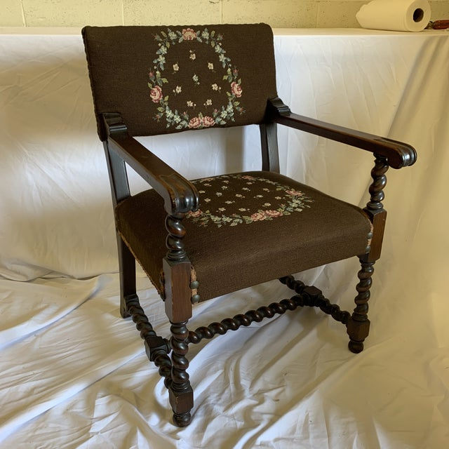 Jacobean Burgundian Style Barley Twist Chair For Sale - Image 11 of 12