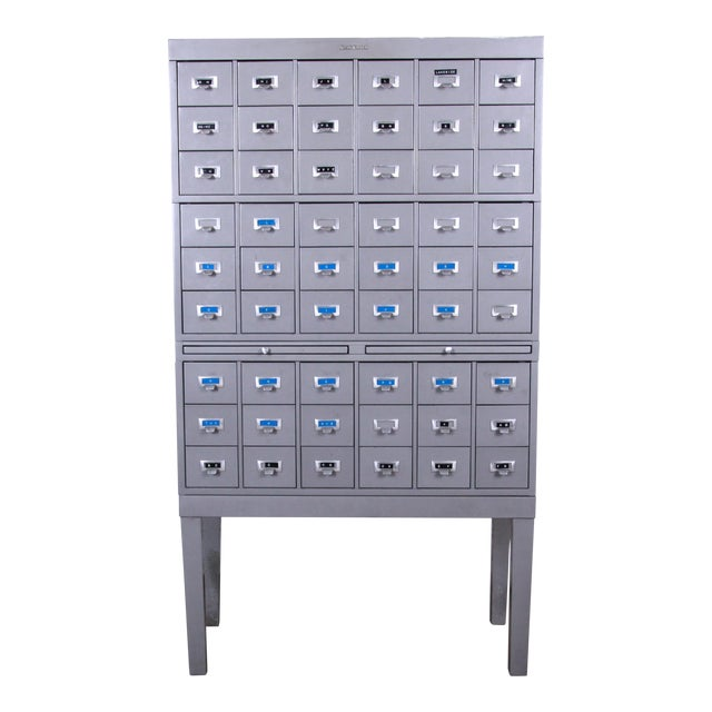 Shaw Walker Mid-Century 54-Drawer Metal Library Card Catalog For Sale