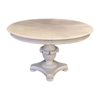 MCM Circular Dove Grey Lacquer Dining Table Pineapple Pedestal Base Two Leaves For Sale