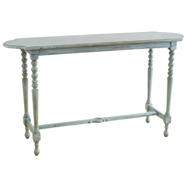 Robin's Egg Blue Painted Console Sofa Table For Sale