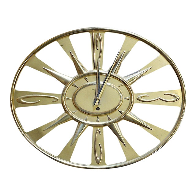 Vintage Mid 20th C. Modern Brass Wall Clock With Key-Phinney Walker Eight Day Clock For Sale