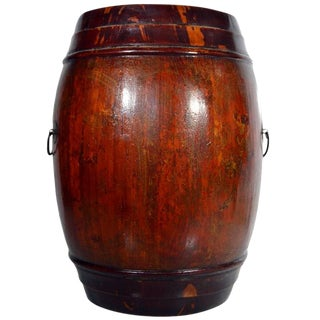 Antique Varnished Painted Wood Grain Barrel Basket From 19th Century China For Sale
