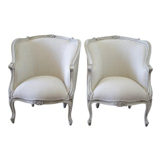 20th Century Painted and Upholstered Linen Bergere Chairs - a Pair