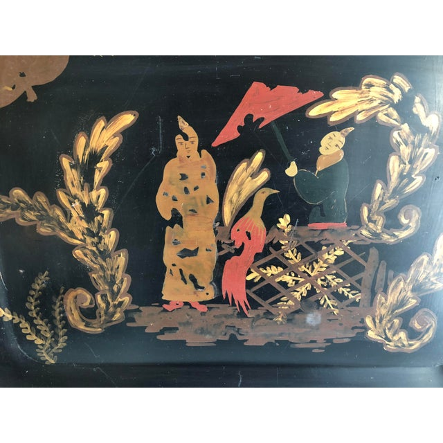 Large 1990s hand-decorated Chinoiserie tray. Signed on underside. Great for use as serving or hanging on wall. Hanging...