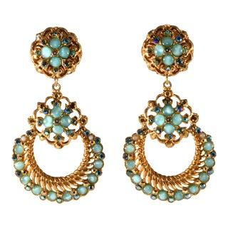 Barrera Earrings Hoop Dangles Blue Cabochons and Rhinestones For Sale