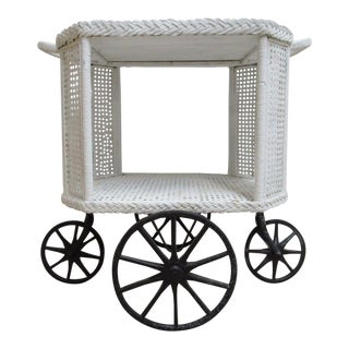 Victorian Wicker Patio Porch Serving T Cart Bar Server For Sale