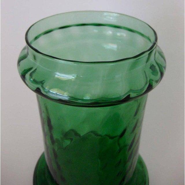 Italian 1960s Italian Empoli Green Optic Art Glass Apothecary Jar For Sale - Image 3 of 5