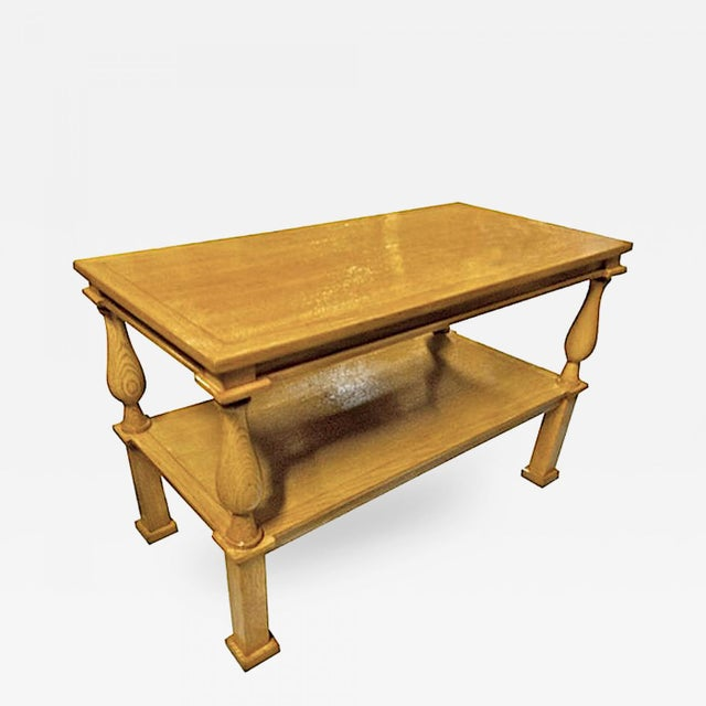 Hollywood Regency Andre Arbus Genuine Documented Neoclassical Blond Oak Coffee Table For Sale - Image 3 of 3