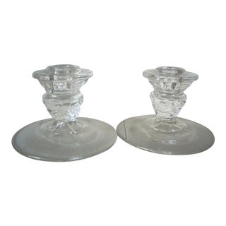 American Fostoria Glass Candleholders - a Pair For Sale