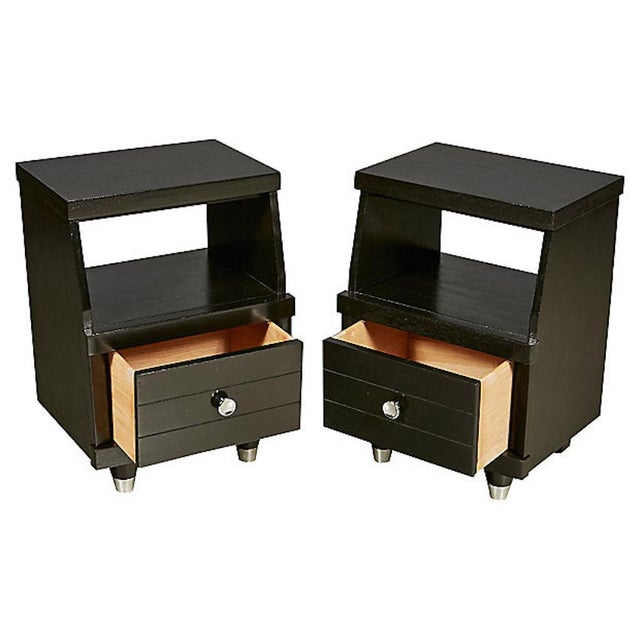 1960s Black Lacquered Nightstands, Pair For Sale - Image 4 of 8