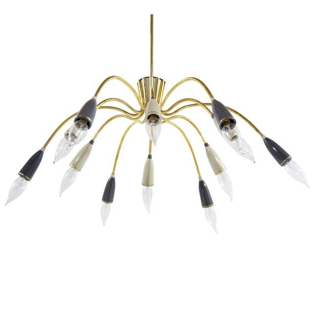Mid-Century Modern Brass Sputnik Chandelier For Sale - Image 9 of 9