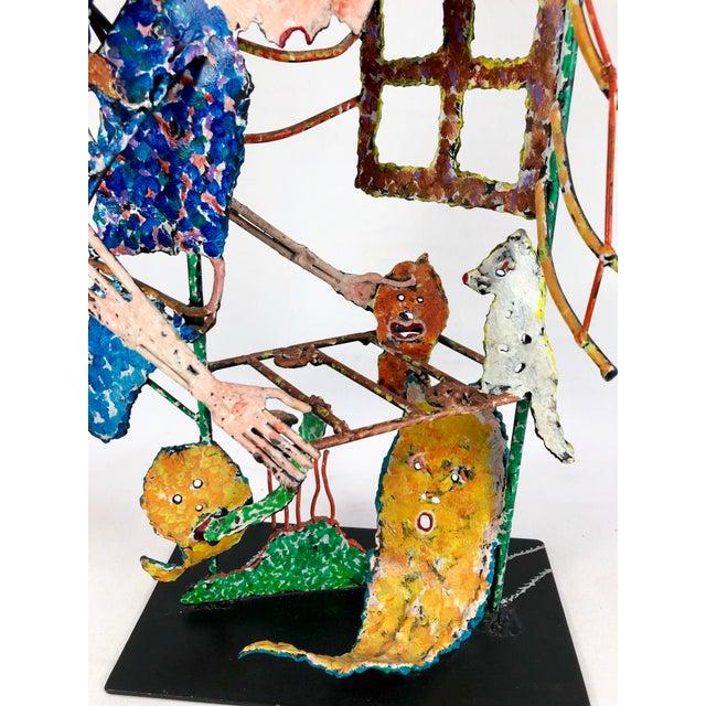 1980s Zaikine Folk Art Signed Metal Sculpture For Sale - Image 9 of 13