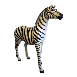 Hand Painted Leather Zebra For Sale