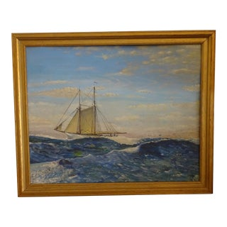 Antique Sailing Ship Oil Painting by H. Trenn