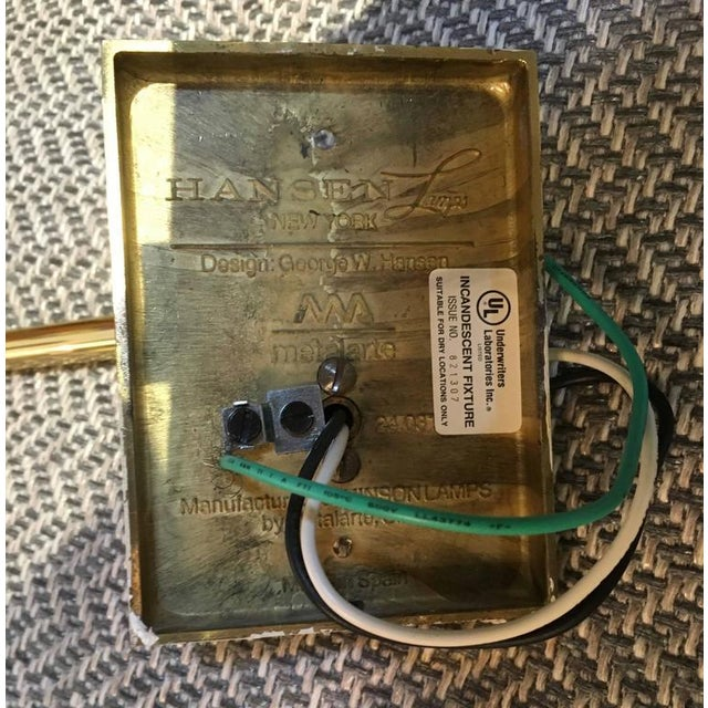 Vintage Hansen Brass Swing Arm Wall Lamps - A Pair For Sale - Image 7 of 9
