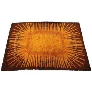 1970s Mid-Century Modern Scandinavian Orange Brown Sunburst Rya Rug - 5′8″ × 8′6″ For Sale