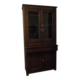 An American Oak and Glass Standing Cabinet. For Sale