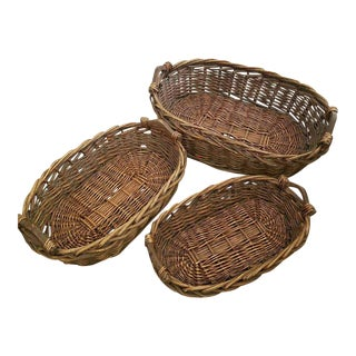 Large Stacking Oval Baskets- Set of 3 For Sale
