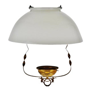 Vintage Hanging Oil Lamp Holder With Milk Glass Shade For Sale