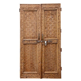 Pair of Indian Haveli Hand-Carved Doors For Sale
