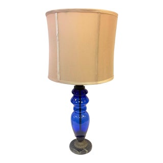 Sapphire Blue Glass Lamp With Marble Base C1920 For Sale
