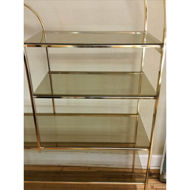 Hollywood Regency Double Waterfall Brass Etagere - Image 5 of 10
