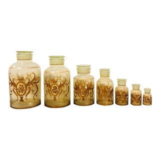 Late 19th Century Art Nouveau Hand Painted Apothecary Lidded Jars - Set of 7 For Sale