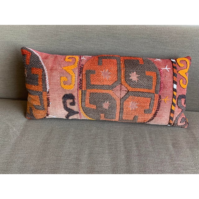 Oblong Pillow Cut From Handmade Antique Rug 3 Available For Sale - Image 9 of 9