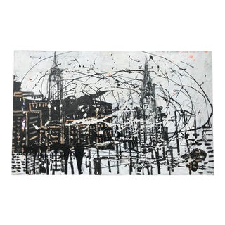 Abstract Expressionist Painting New York Skyline by Tom Christopher For Sale