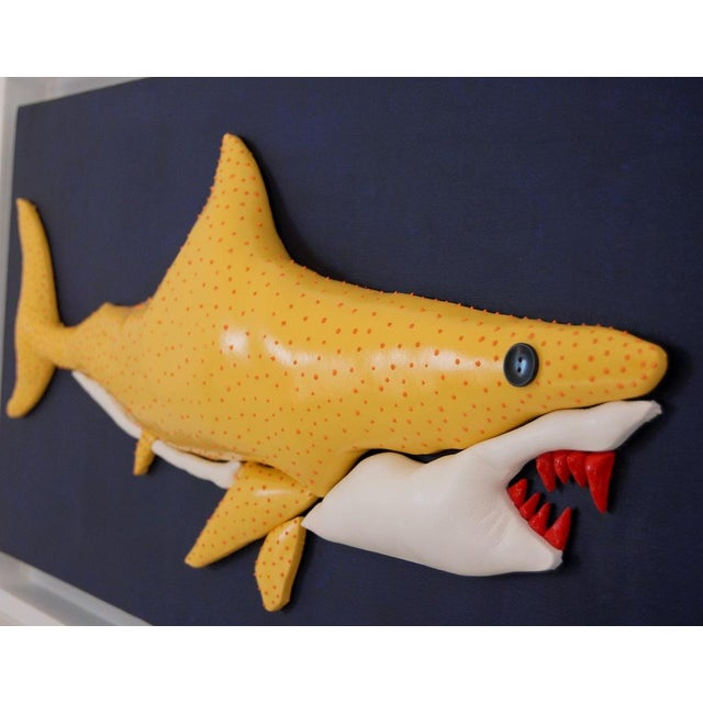 Contemporary Enrico Cecotto Lemon Shark Contemporary Sculptural Painting For Sale - Image 3 of 7