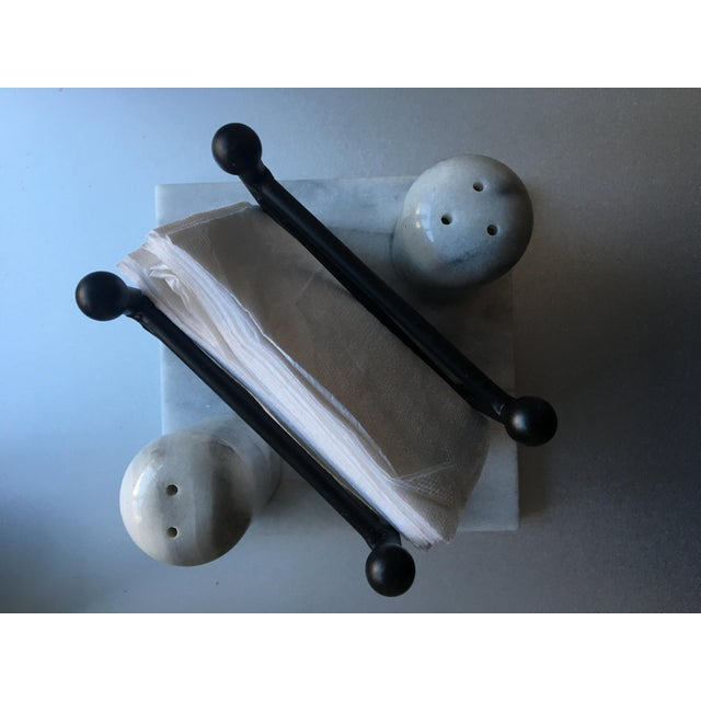 Carrera Marble Salt & Pepper Shakers with Napkin Stand - Image 3 of 6