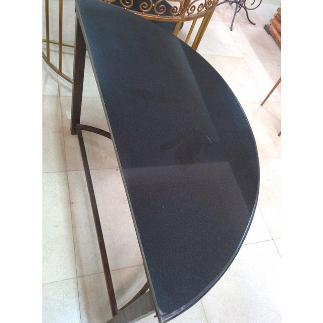 Semi-Circle Metal Console Table with Marble Top For Sale - Image 9 of 10
