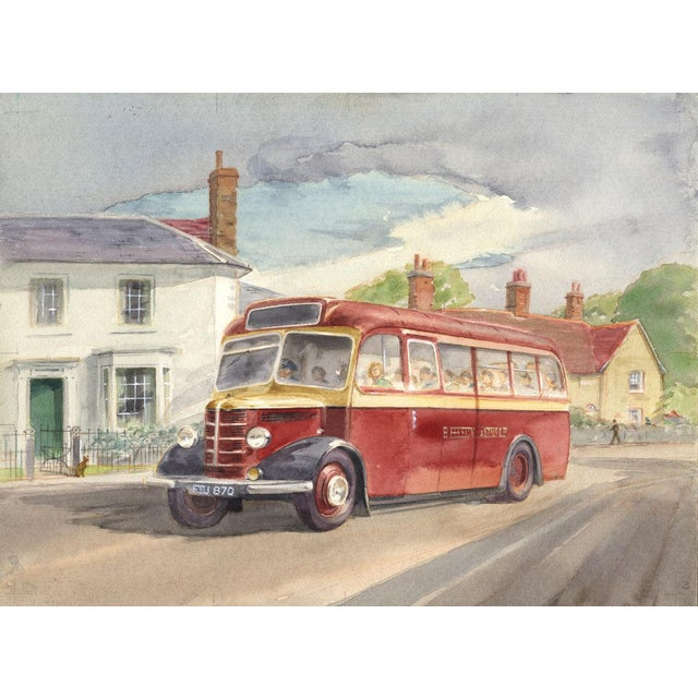 "Folk Art Original Mid-Century ""Bus"" Watercolor Painting For Sale - Image 3 of 3"
