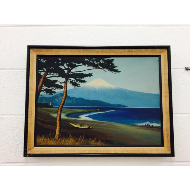 Contemporary Framed Vintage Island Landscape Oil Painting For Sale - Image 3 of 9